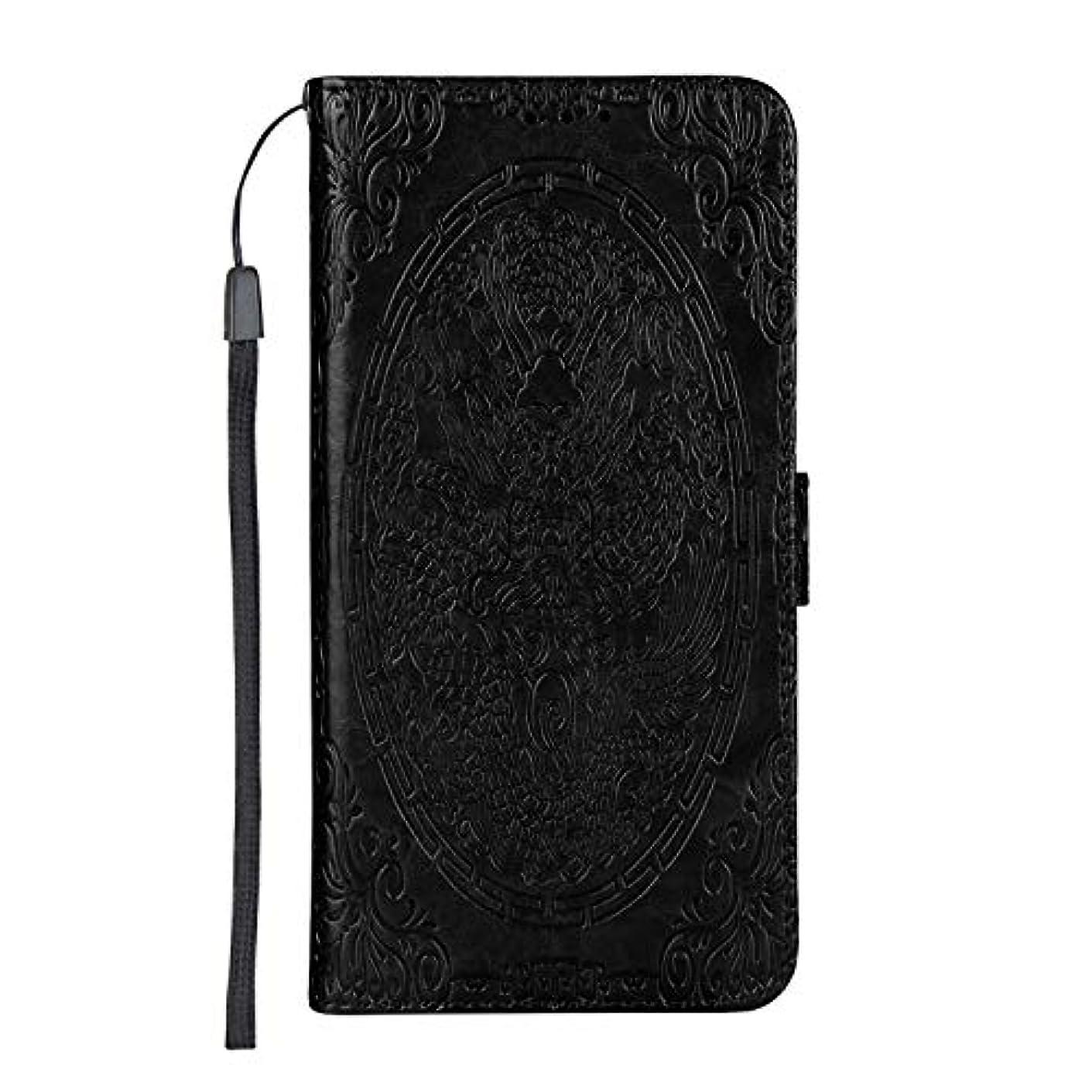 乱用魚春CUSKING Galaxy A6 Plus ケース手帳型 [ドラゴン柄] 多機能 手帳ケース カード収納 スタンド 機能 人気 全面保護カバー サムスン ギャラクシ ケース –黒