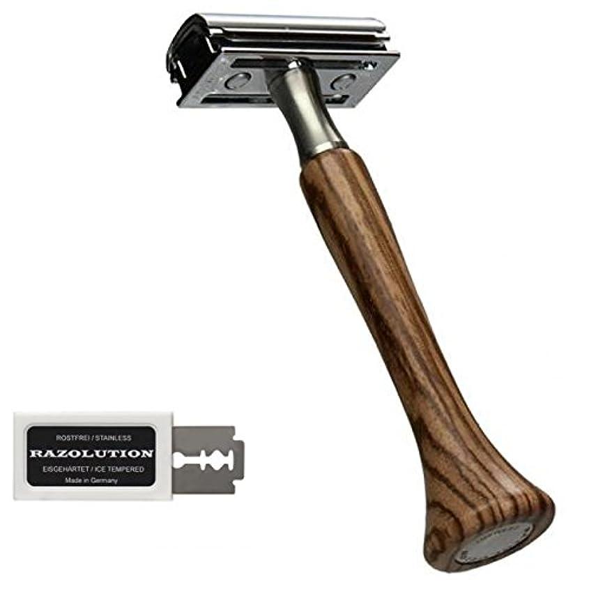 雑種ものキャメルRAZOLUTION 4Edge Safety razor, Zebrano handle