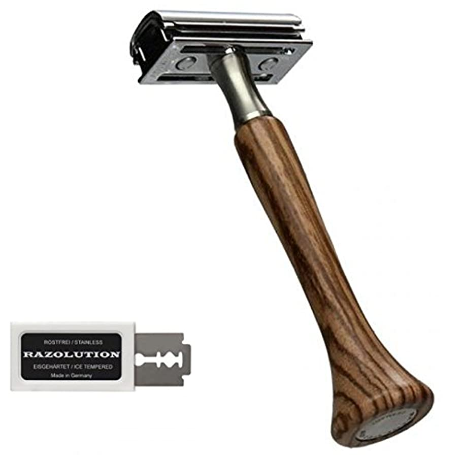 イデオロギーピストン公使館RAZOLUTION 4Edge Safety razor, Zebrano handle