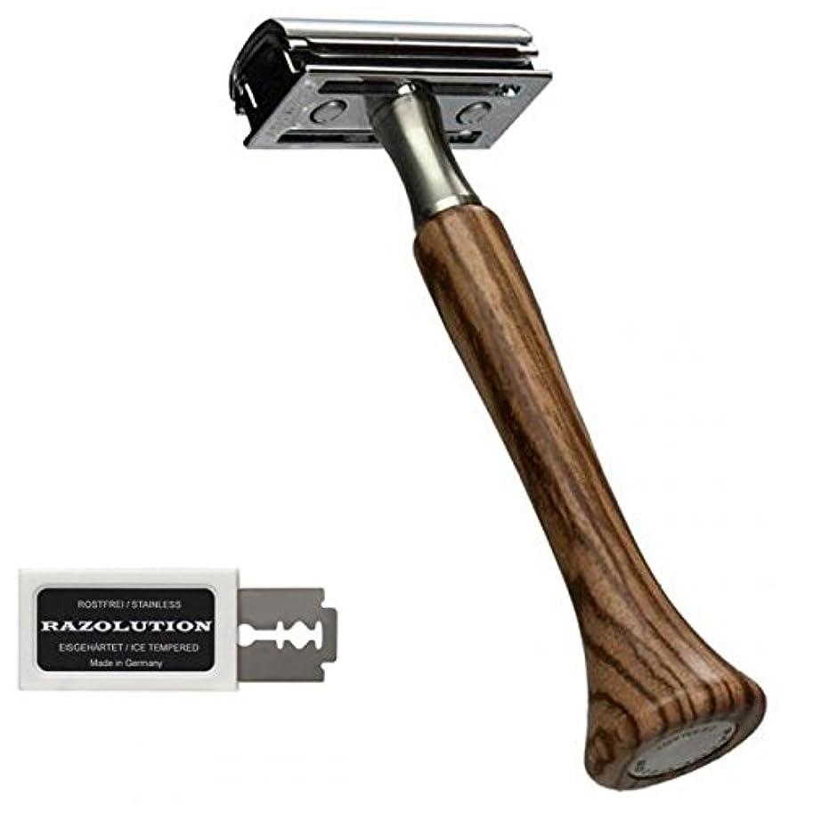 トレイ倫理的こどもの日RAZOLUTION 4Edge Safety razor, Zebrano handle
