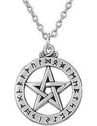 小さなルーンAlphabet Pentacle PentagramペンダントネックレスNorse Wiccan Asatruジュエリー