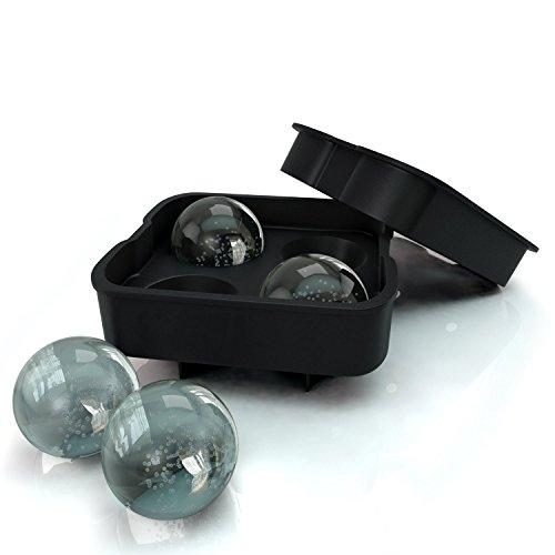 (アイラブコス)iLoveCos JP 4個大ボール製氷皿 シリコーン製 フタ付き ブラック