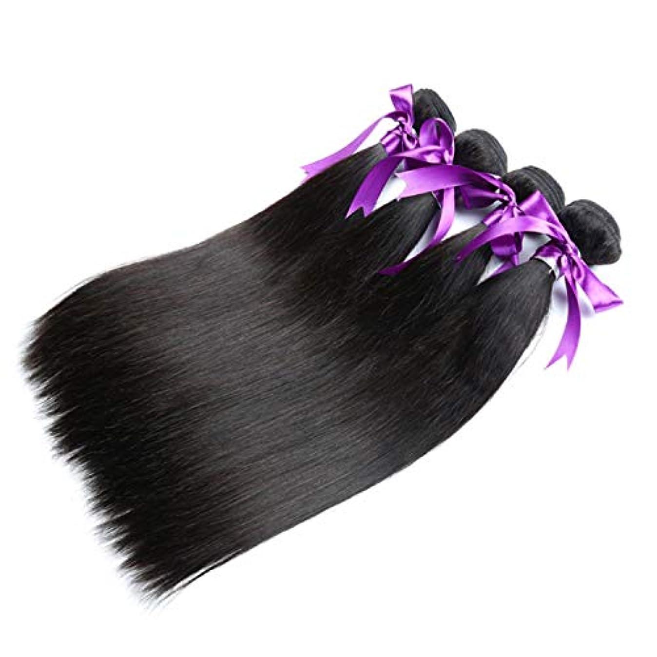 サイクル完了パン屋かつら ペルーのストレートヘア4本の人間の髪の毛の束非レミーの毛の延長ナチュラルブラック (Length : 18 20 22 22)
