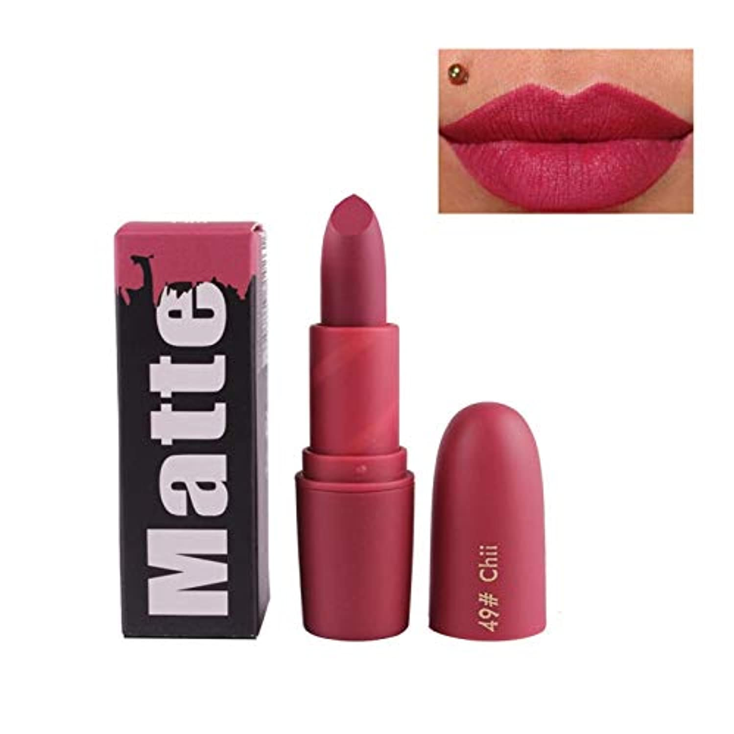 Gyvoxz - ミス?ローズヌード口紅マットメイクラスティング女性セクシーなブランドの唇の色の化粧品防水ロングの新着口紅[49]