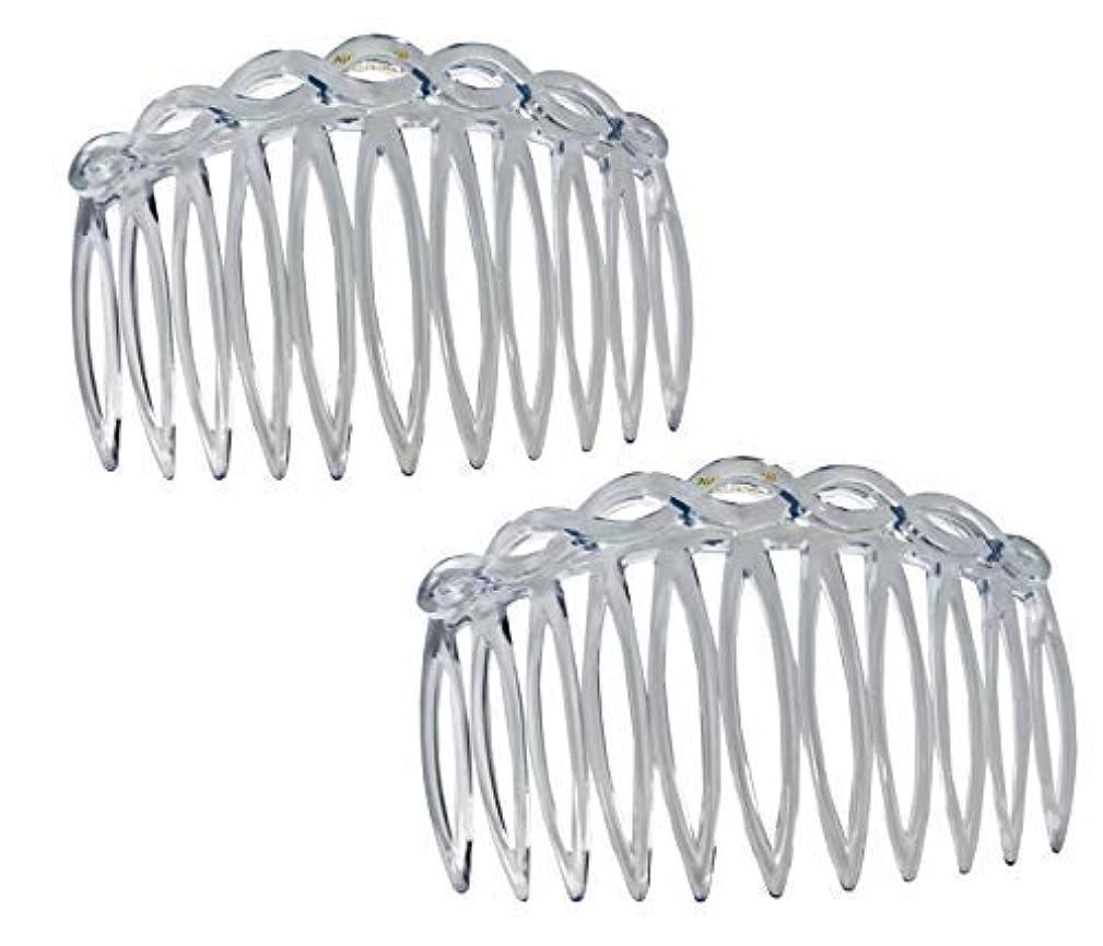 二年生連結する論理的Parcelona French Open Curved Twist Crystal Clear Set of 2 Celluloid Acetate 3 Inch Side Hair Combs [並行輸入品]