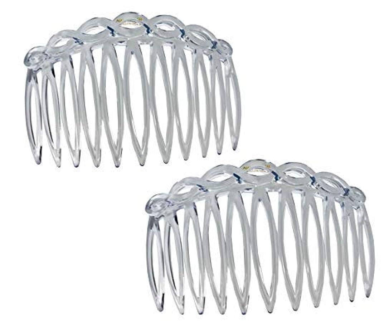 マーケティング脅迫波紋Parcelona French Open Curved Twist Crystal Clear Set of 2 Celluloid Acetate 3 Inch Side Hair Combs [並行輸入品]