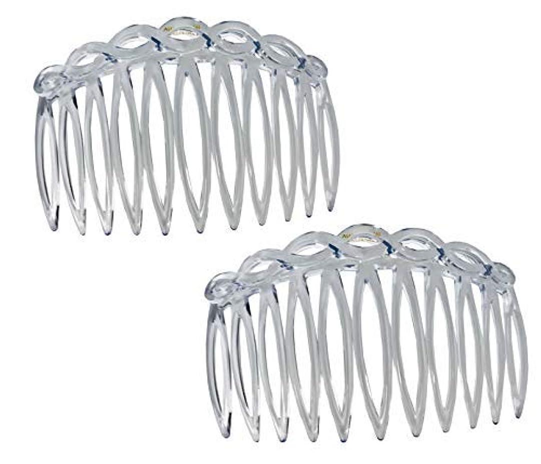 ロデオネストアーネストシャクルトンParcelona French Open Curved Twist Crystal Clear Set of 2 Celluloid Acetate 3 Inch Side Hair Combs [並行輸入品]