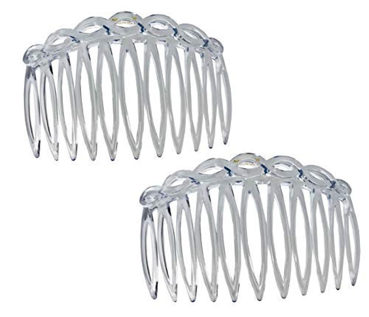 現金民主主義倉庫Parcelona French Open Curved Twist Crystal Clear Set of 2 Celluloid Acetate 3 Inch Side Hair Combs [並行輸入品]