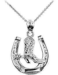 925 Sterling Silver Lucky Horseshoe with Cowboy Boot Charm Pendant Necklace 16