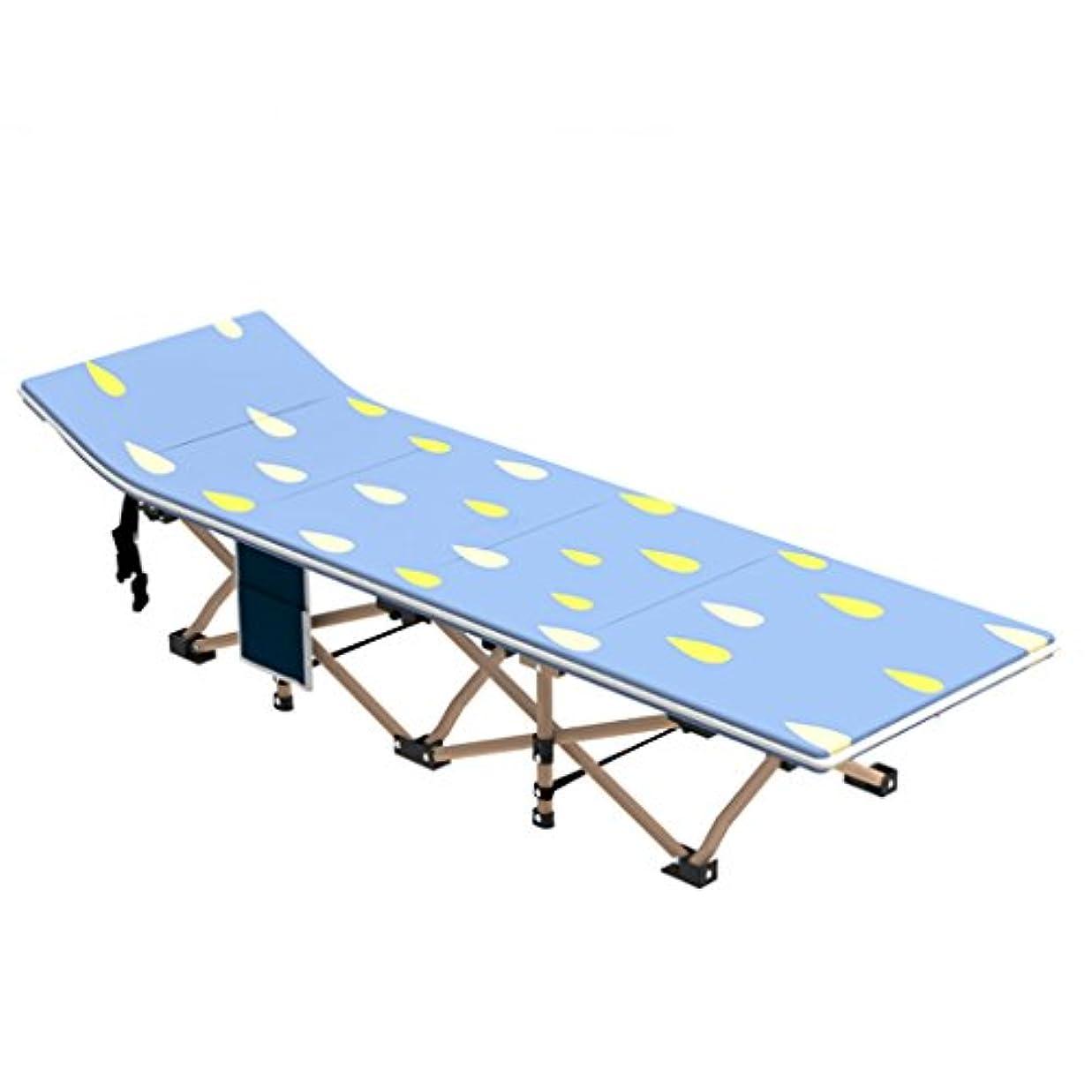 服を洗う揺れる条約TangMengYun 折り畳みシートシングルオフィスシエアベッドホームカウチアダルトポータブルベッドキャンプベッド (Color : Navy blue+cushion, サイズ : 190*67*35CM)