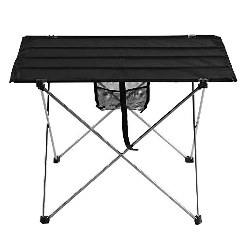 急性海岸劇的Yosoo アウトドアテーブル BBQ キャンプ テーブル 折り畳みテーブル アルミ 軽量 収納バック付き ウトドア お釣り ハイキング ロールテーブル キャンプ用(小-ブラック)