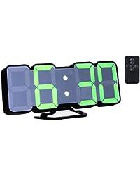 EAAGD 3D ワイヤレスリモートデジタル目覚まし時計壁掛け時計ー115種類のLEDデジタルカラーバリエーション、音声制御、3段階の調節可能な明るさ、リモコン付き (ブラック本体))