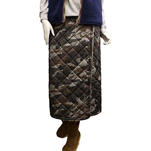 山ガールファッション キルティングスカート【P7100グレー/ロング丈】 山ガール巻きスカート 迷彩柄 リバーシブル キルト防寒 山スカート ラップスカート