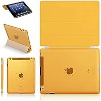 iPad2 iPad3 iPad4超薄型 スタンド仕様 マグネット スマート式 ケース カバーと半透明プラスティック製バックカバー 液晶保護フィルム付き オレンジ