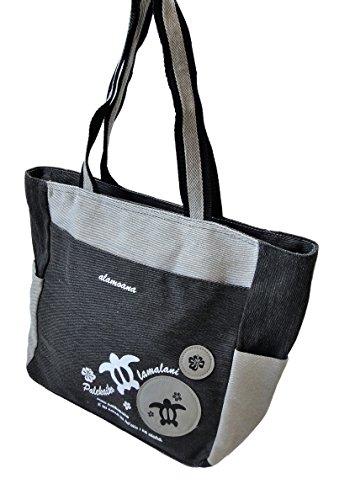 【TWIN HONU】ホヌとハイビスカスのバッチとプリントがかわいいカジュアルトートバッグ (ブラック)