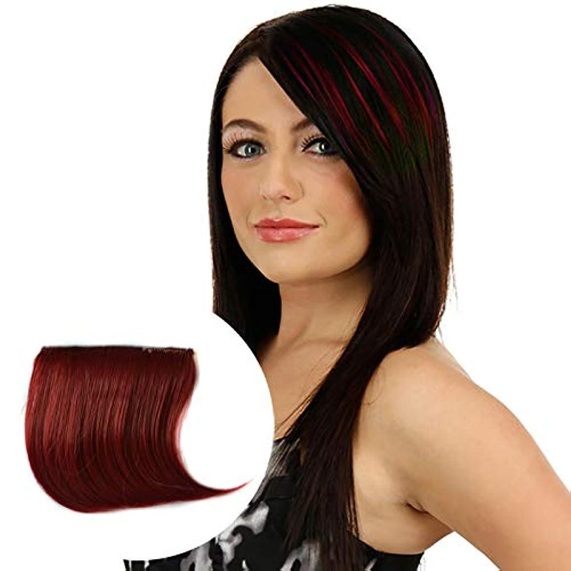 思われる光穏やかな美しさ カラーグラデーション見えないシームレスヘアエクステンションウィッグピースストレートヘアピースカラーバンズヘアピース ヘア&シェービング (色 : Wine Red)