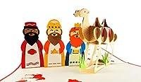 iGifts And Cards ユニーク クリスマス スリーキング 3D ポップアップ グリーティングカード - メリークリスマス、シーズングリーティング、ハーフフォールド、ホリデーギフト、インスピレーション、ワイズメンズ、ジョリー、ジョイ、クール、レッド、キュート、ファンシー