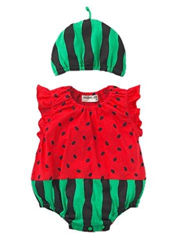 (ビグッド)Bigood 可愛い ベビー 赤ちゃん 新生児 ボディスーツ カバーオール ロンパース 出産祝い プレゼント(スイカ・95)