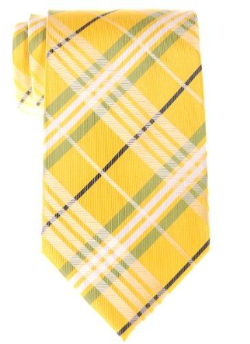 (リトリーズ) RETREEZ スタイリッシュ タータンチェック 織布 マイクロファイバー メンズ ネクタイ - イエロー