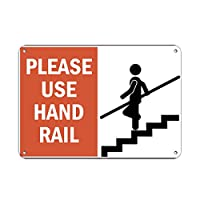 Please Use Hand Rail ハザードサイン 手すりサイン アルミニウムメタルサイン 10 in x 7 in MSIGNHANDR002_HR_10_7