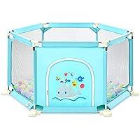 ベビーサークル, ポータブル6パネル乳幼児用プレイプレーン、100ボールとクロールマット付き、屋内用アンチロールオーバーPlayヤード - 73cmの高さ (色 : 青)