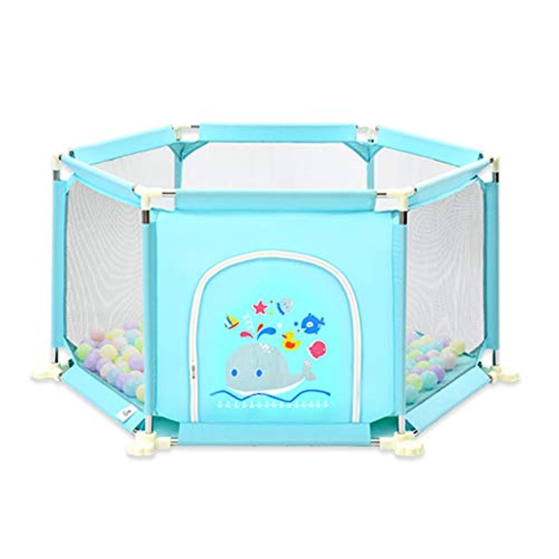 ベビーサークル, ポータブル6パネル乳幼児用プレイプレーン100ボールとゲート、アンチロールオーバー安全幼児のためのプレイヤード - 73cmの高さ (色 : 青)
