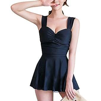 Xiton 3点セット 可愛く 体型カバー レディース 水着 ワンピース ブラック ショートパンツ UVカット キャップ 付き M
