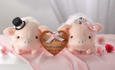 ウェルカムとんちゃんピンク完成品ティアラ付き・お名入れサービス【結婚式 豚のウェルカムドール ぶたのぬいぐるみ】