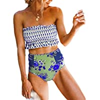 Women Print Strap Wrap Cheeky High Waist Bikini Set Swimsuit