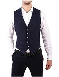 (タリアトーレ) Tagliatore メンズ トップス ベスト・ジレ Blue Linen Vest [並行輸入品]