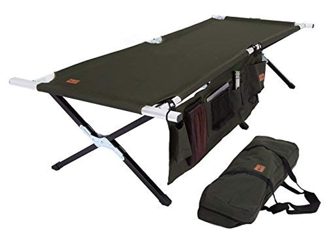 エンターテインメント背が高い国籍Tough Outdoors Camp Cot [Large] with Free Organizer & Storage Bag - Military Style Folding Bed for Camping, Traveling, Hunting, and Backpacking - Lightweight, Heavy-Duty & Portable Cots for Adults [並行輸入品]