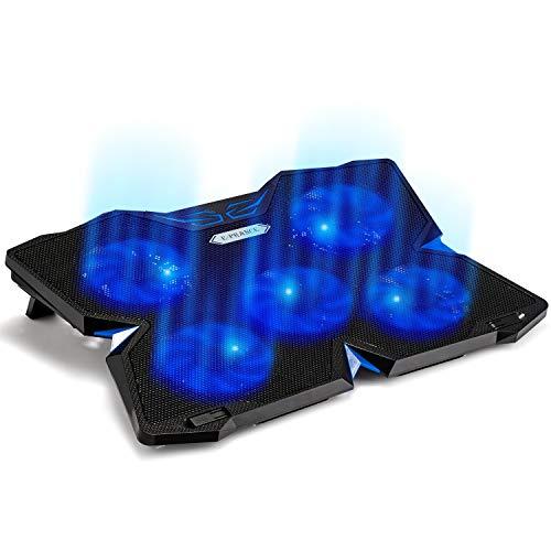 E-PRANCE ノートパソコン 冷却パッド 冷却台 ノートPCクーラー クール 超静音 USBポート2口 LED搭載 USB接続 17インチ型まで対応 (5ファン (ブルー))