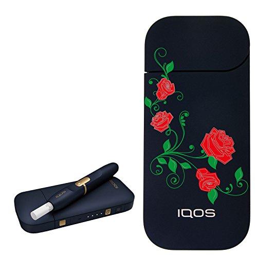 [ローズ] カラー プリント デザイン アイコス 新型 iQOS 2.4 Plus KIT 国内正規品 本体 キット セット (ローズ,ネイビー)