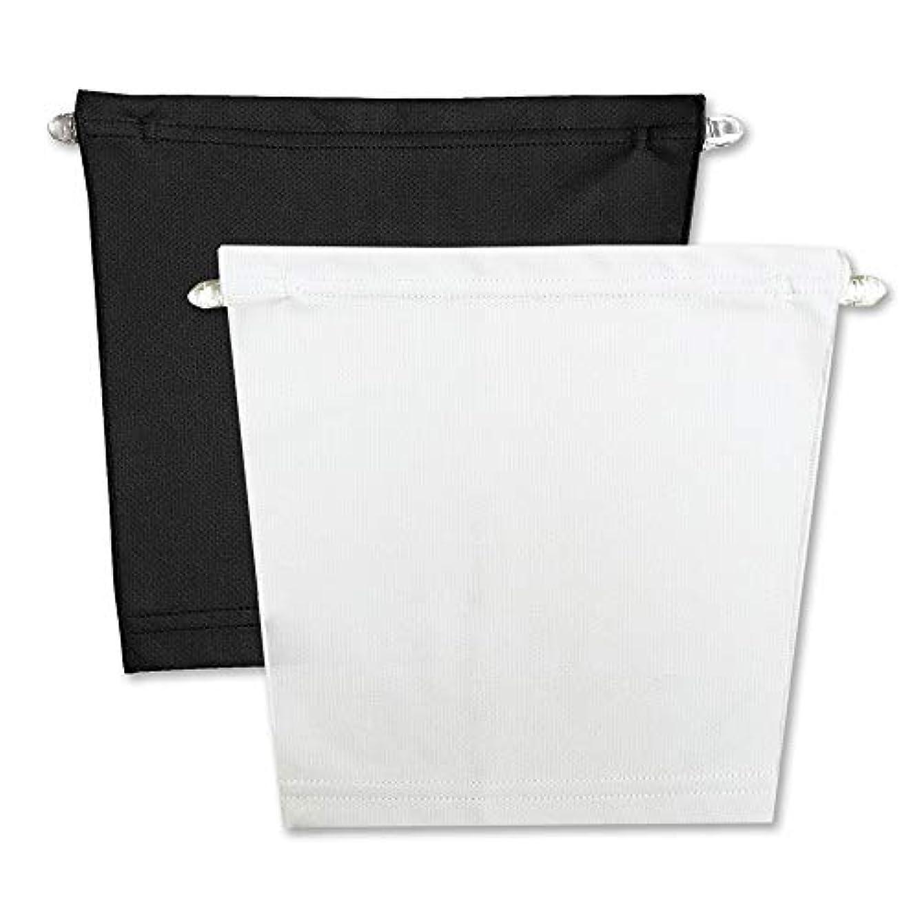 ストライプ小康飾るフロントキャミ (2枚組) 胸元隠し UVカット (黒 & 白)