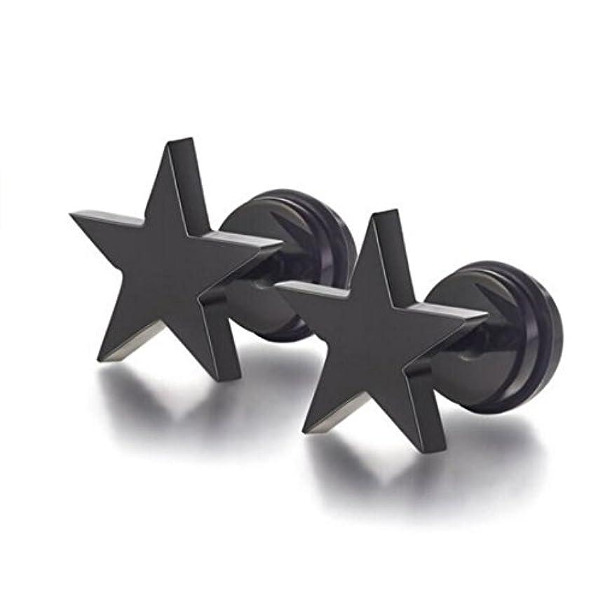 散文適用するジェームズダイソンうれしい 2個 セット 星 スター ピアス チタン 製 両耳 16G スペア としても ユニセックス ピアス 星型 シンプル スタッド 黒 ブラック