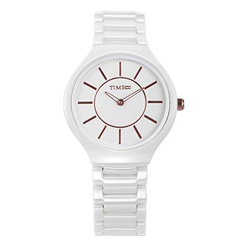 Time100 セラミック 腕時計 セイコーの石英ムーブメント 超薄型 防水 レディース メンズ 腕時計 #W50173M.01A (白い)
