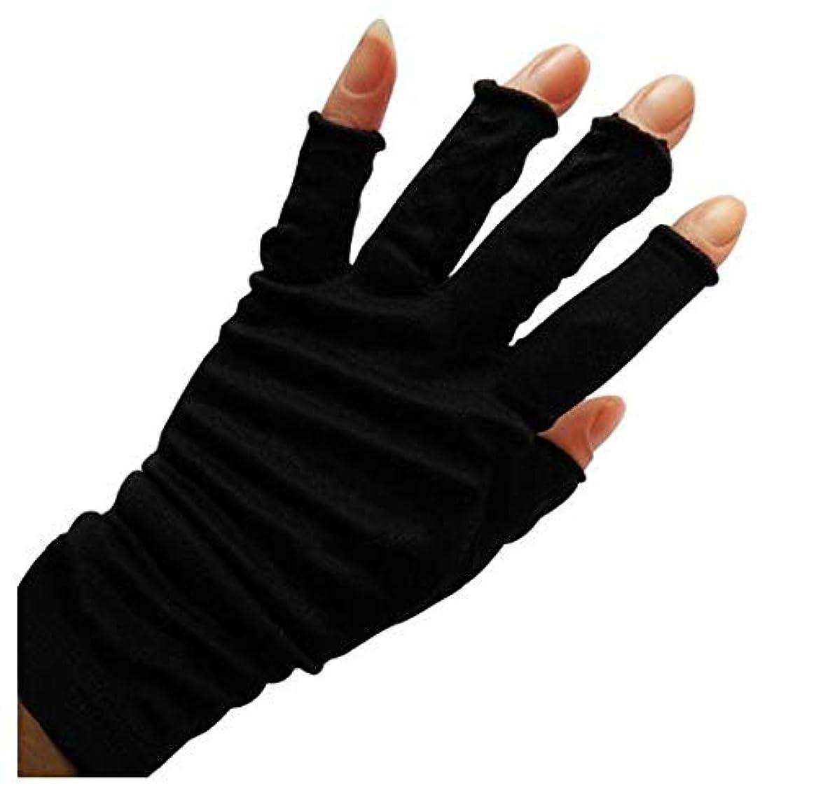 ほうきケイ素保安[スリーピングシープ] ひんやり サラサラ シルク100% UV 手袋 ハンドケア UV 手袋 手のお手入れに (M, 指切りブラック)