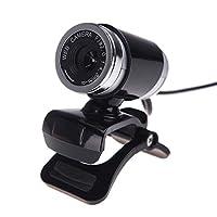 CCLOON A860コンピュータカメラ、USB 2.0 HDウェブカメラ、マイククリップ付きiPhoneカメラ、iPhone、Samsung、LG、iPad、HTC、そしてほとんどのスマートフォン用マイク付き360度 (黒)