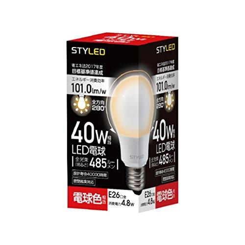LED電球 口金直径26mm 40W形相当 485ルーメン 電球色 全方向 全配光タイプ 密閉器具対応 SDA40TL1