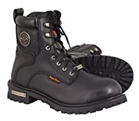 Milwaukeeレザーメンズ防水Logger Boots with Lace to Toeデザイン 12W ブラック MBM9096WP-BLK-12W