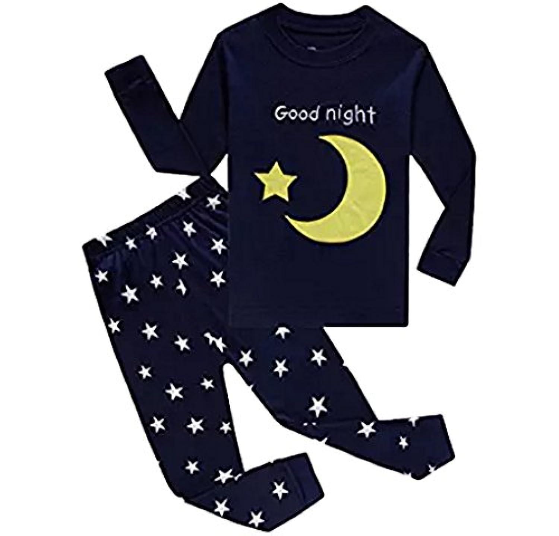 Babyfashion 綿100% 子供パジャマ ルームウェア キッズ  女の子 男の子 上下セット 月と星柄  長袖  寝巻き ボーイズ ガール 女児 男児 ベビー  2-10歳