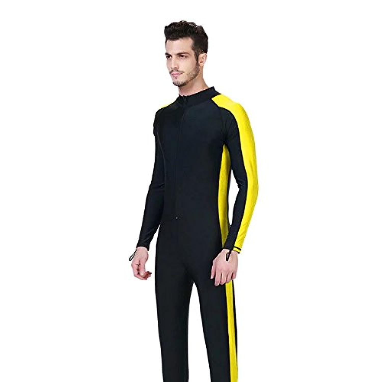 InitialG【イニシャルジー】ウェットスーツ メンズ 水着 ラッシュガード 一体型 長袖 スイムウエア ダイビング サーフィン 日焼け止め 008-yr-1008(S イエロー )