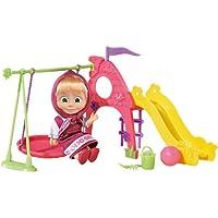 [RusToy] 12 cm人形マシャ、スイング、ボール、バケツ、レーキ、ショベルおもちゃドールドールマシャと熊、有名な漫画、ソフトギフト、少女、誕生日パックサイズ:23 x 9 x 17 cm。Toy Doll Doll Masha and Bear