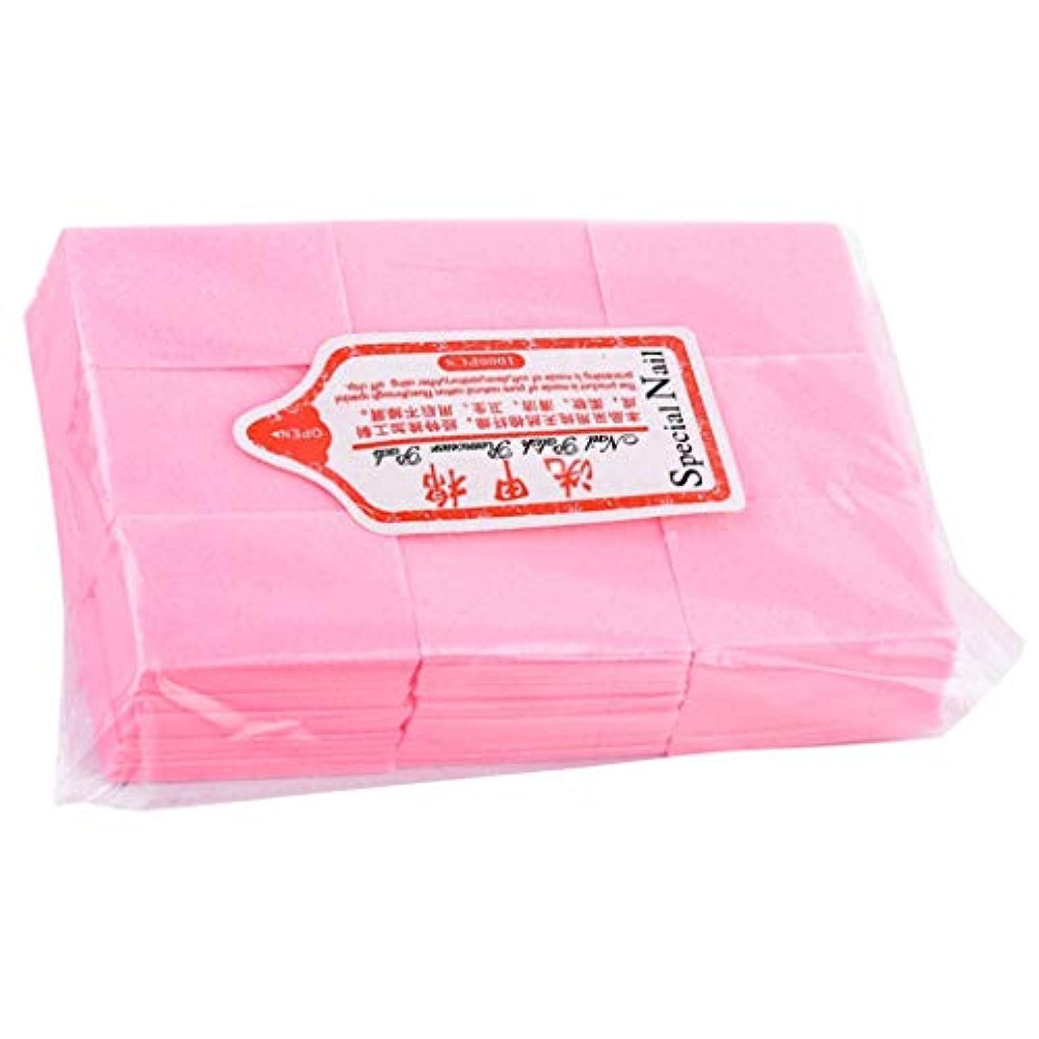つぼみ忍耐いらいらさせるネイルワイプ コットンパッド 使い捨て ネイルポリッシュリムーバー パッド マニキュア 全4色 - ピンク