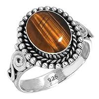 ナチュラル 虎 眼 女性たち 宝石 925 スターリング 銀 リング サイズ 23