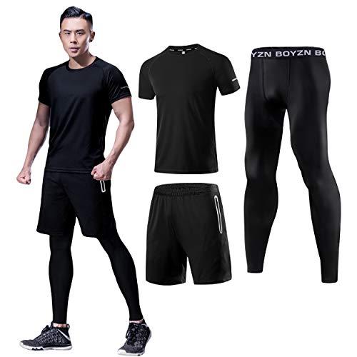 メンズ コンプレッションウェア 3点セット トレーニングウェア 通気 防臭 スポーツウェア ランニングウェア 半袖シャツ ハーフパンツ タイツ 吸汗速乾 ブラック Black-3P-M