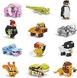 IAMGlobal ミニビルディングブロックアニマル12個入り 詰め合わせ おもちゃの動物 組み立てブロック ステム玩具 子供のパーティーの記念品 グッディーバッグ 誕生日 カーニバル賞品