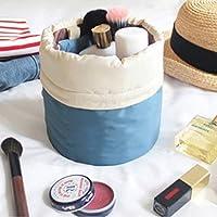 Koloeplf 旅行メイクアップバッグ化粧品バッグオーガナイザーバレル形大容量巾着化粧収納袋トイレタリーウォッシュバッグ用女性女の子 (Color : Write Blue)