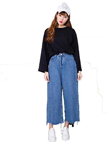 Ehame デニム ガウチョ ワイド パンツ シンプル カジュアル ハイ ウエスト クロップド デニム ワイド パンツ 9分丈 ゆったり ブルーL