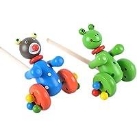 幼児期のゲーム 子供のための玩具に沿って漫画の木製のベアプッシュプッシュ(青)